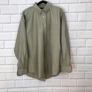 Lands End Brown Button Down Shirt
